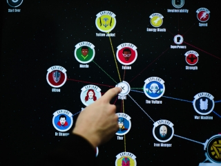 Close up of Marvel Cinematic Universe program showing options