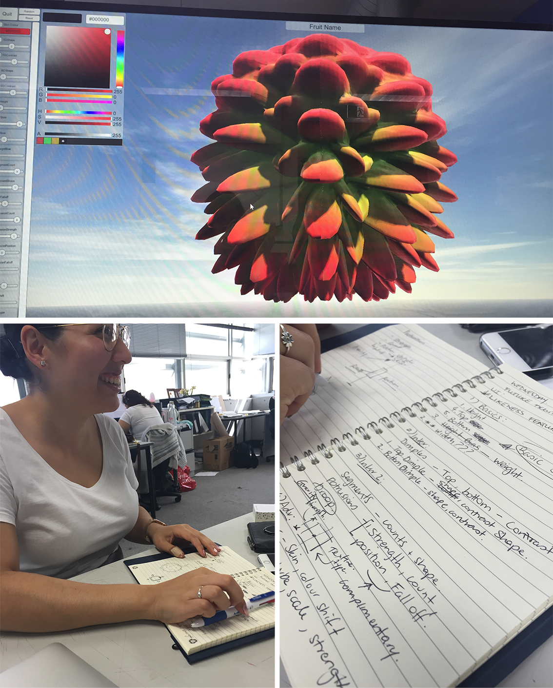 UI review for Future Fruit with Sarah writing notes