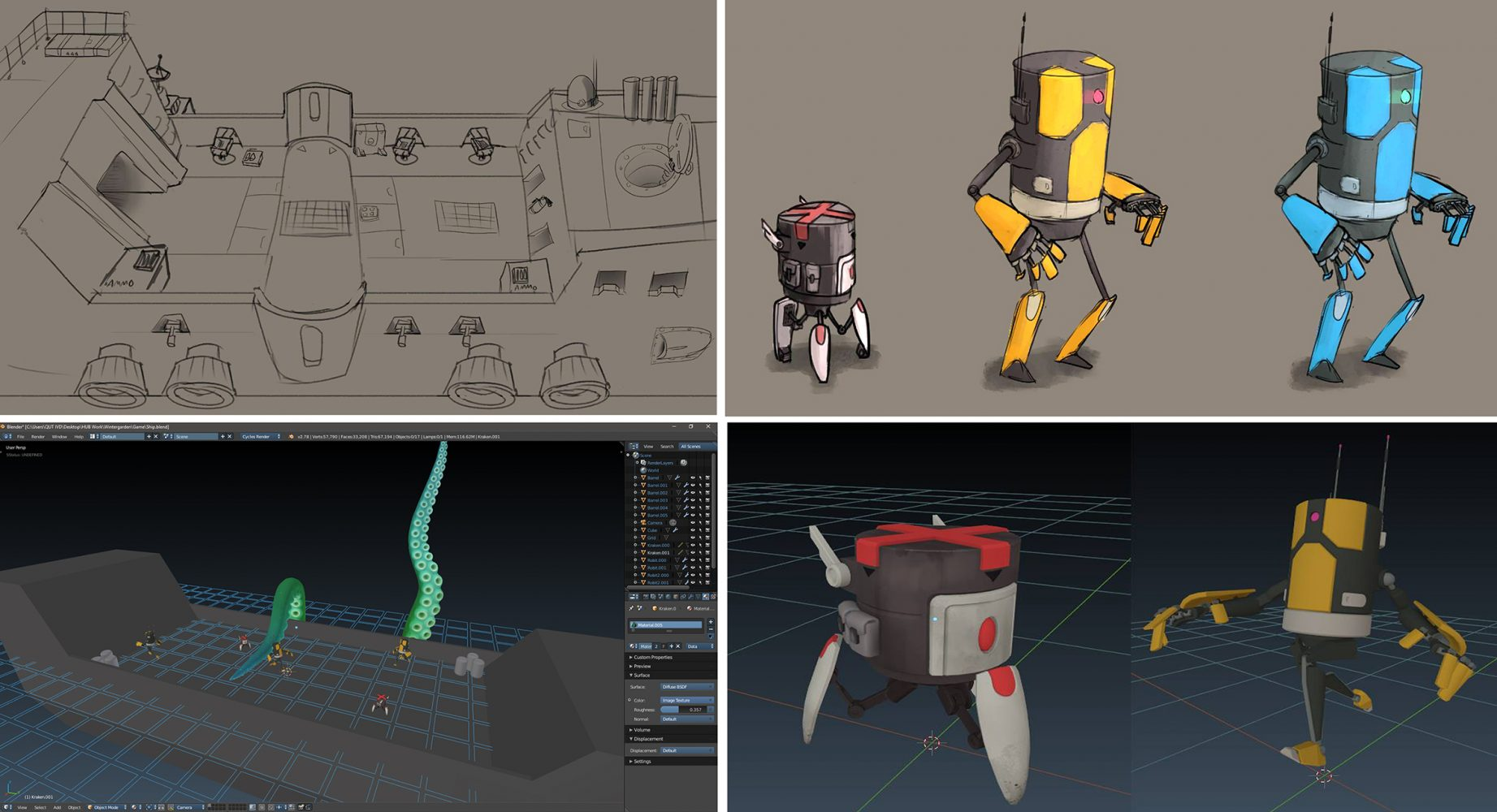 Progress shots of Scuttlebot Mayhem from concept drawings to 3D rendering