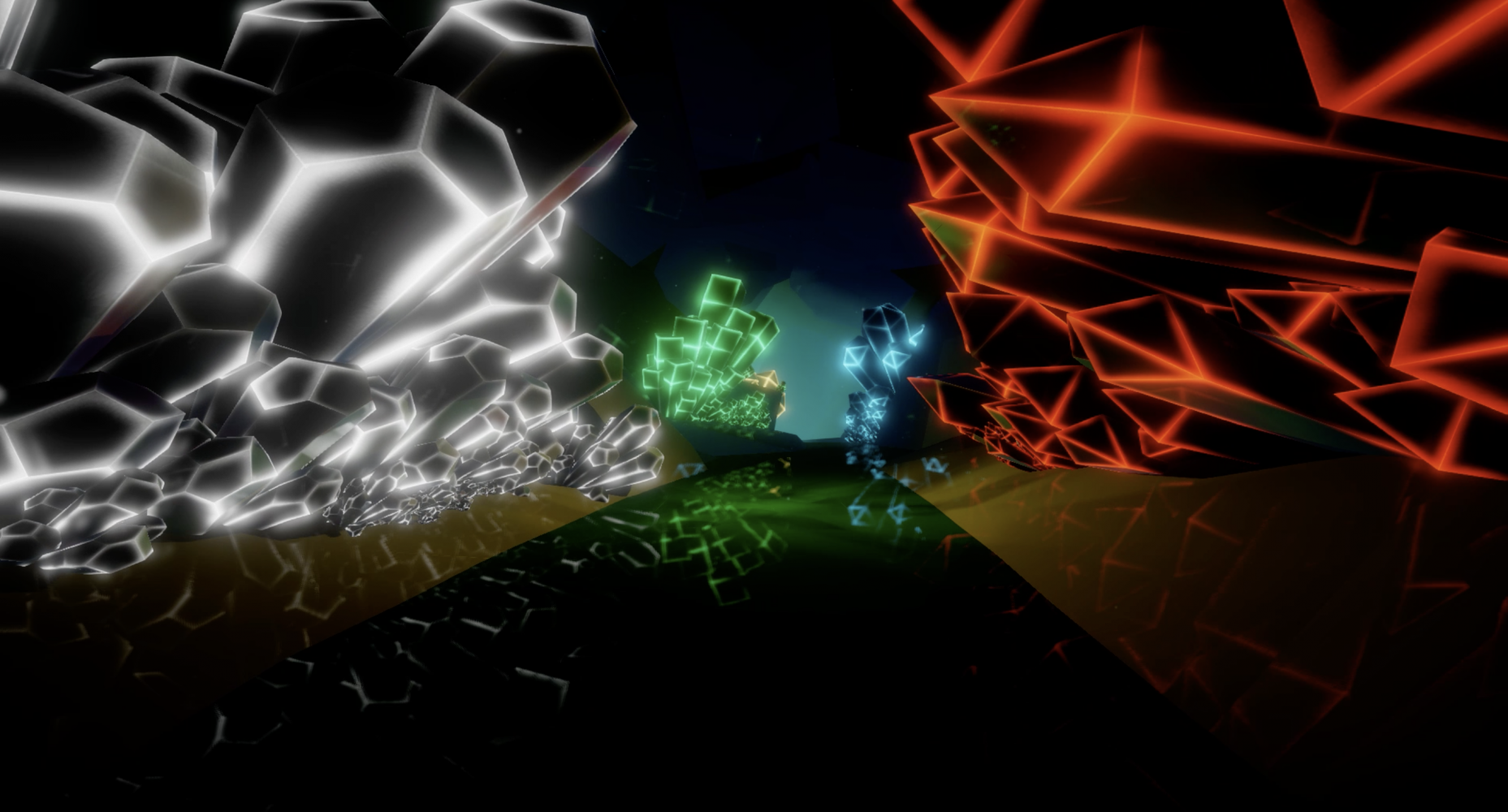 Colliding Dimensions cave screenshot with white, green, blue and red shards glowing