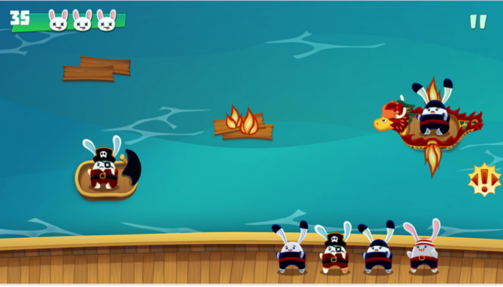 Scuttled screenshot with level and lives in top left, boats in the middle with rabbits and a large boat at the bottom with several rabbits