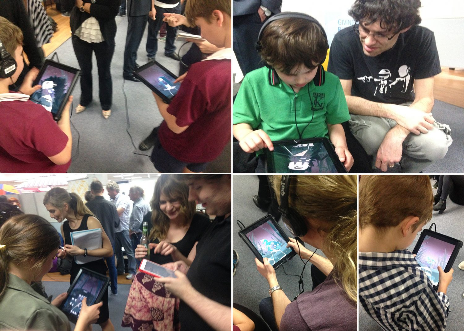 Silent Grove test sessions with children and adults testing the game on ipads with headphones