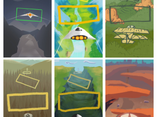 6 Silent Grove art concepts with various flying vehicles from spaceships to aeroplanes and landscopes from baron wasteland to beautiful forests