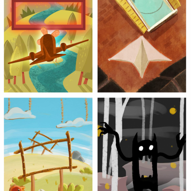4 Silent Grove art concepts with paperplanes, aeroplanes and a black and white monster
