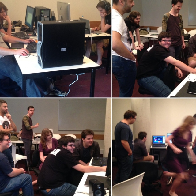 Collage of the team creating the game Oblivious Adventurer at HUB Studio in Brisbane