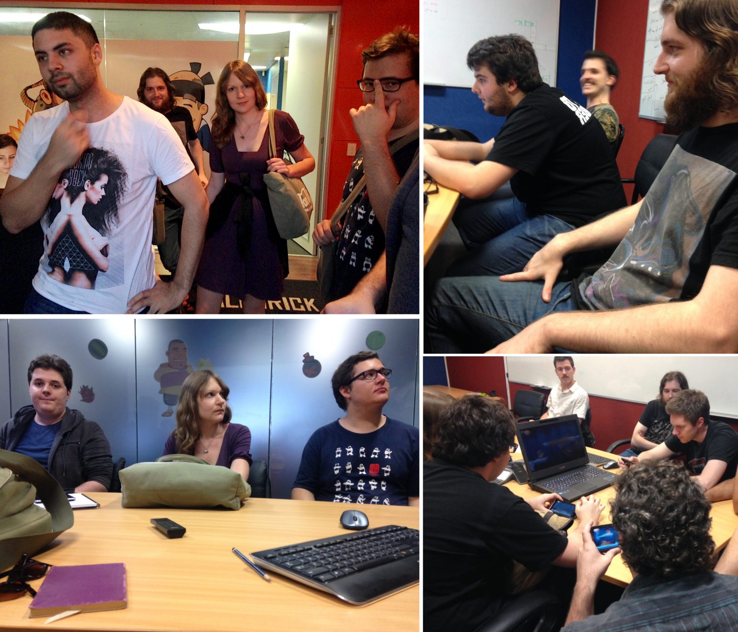 Collage of the team creating the game Oblivious Adventurer at Halfbrick studios in Brisbane