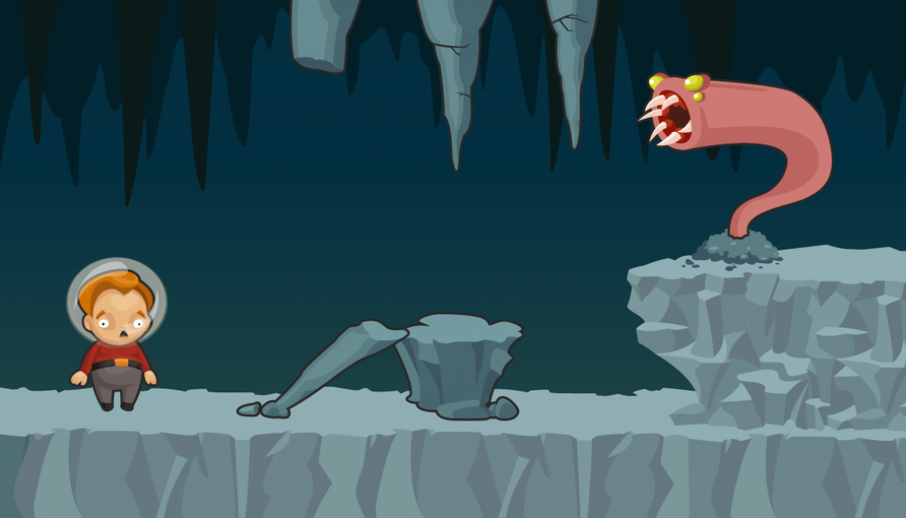 Oblivious Adventurer mockup showing a character with a space helmet terrified of the large cave worm with sharp teeth