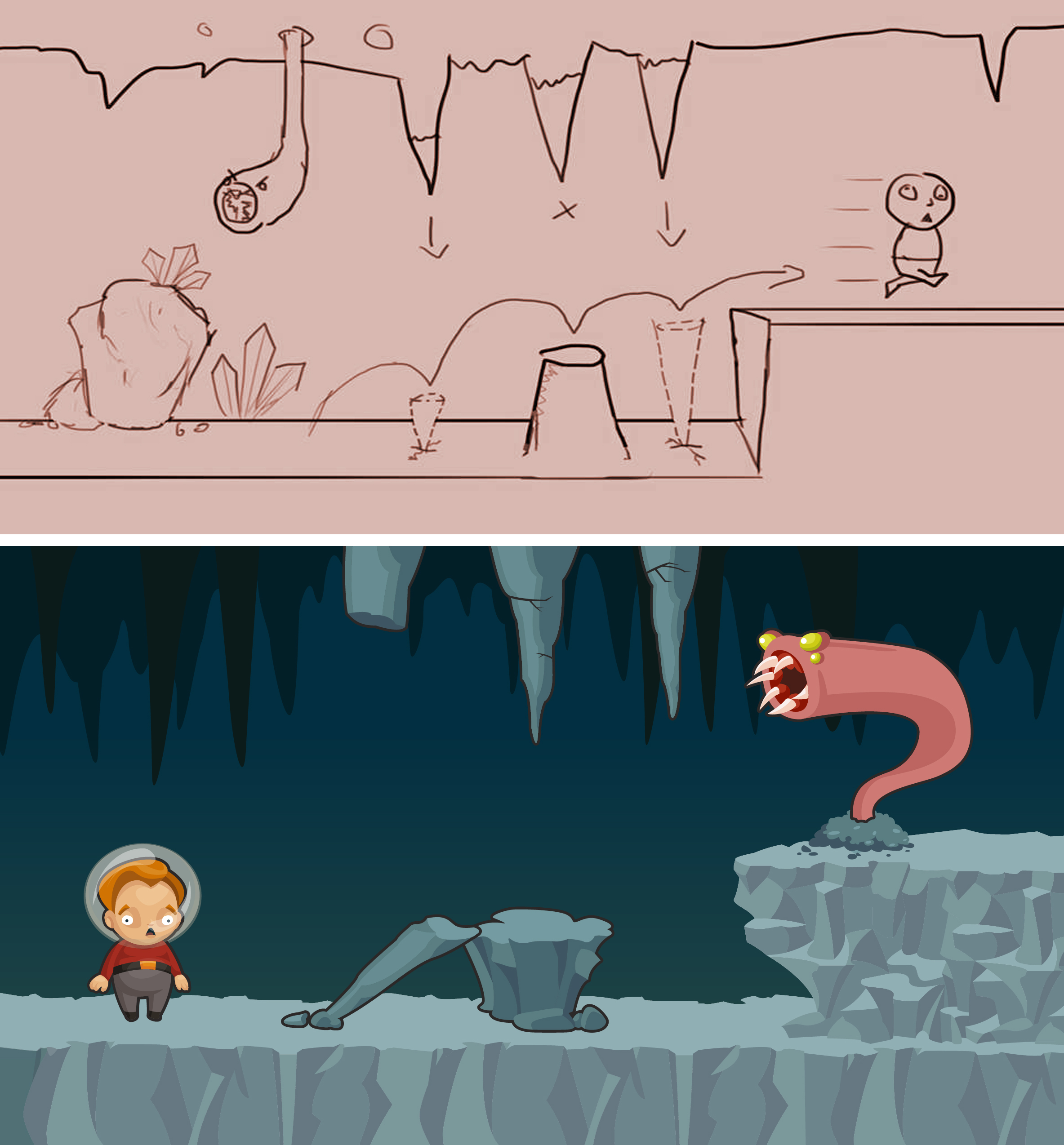 Top to bottom sketch to mockup of a concept for Oblivious Adventurer, showing a character's interaction with spikes in a cave and an enemy worm like creature