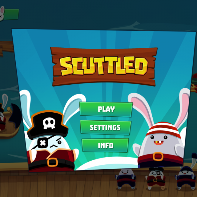 Scuttled game in pause screen showing the logo and options to resume play, view settings and see more info about the game