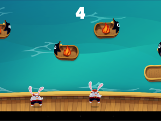 Scuttled game showing rabits at the bottom of the screen on a ship with several smaller boats above, some of which are on fire