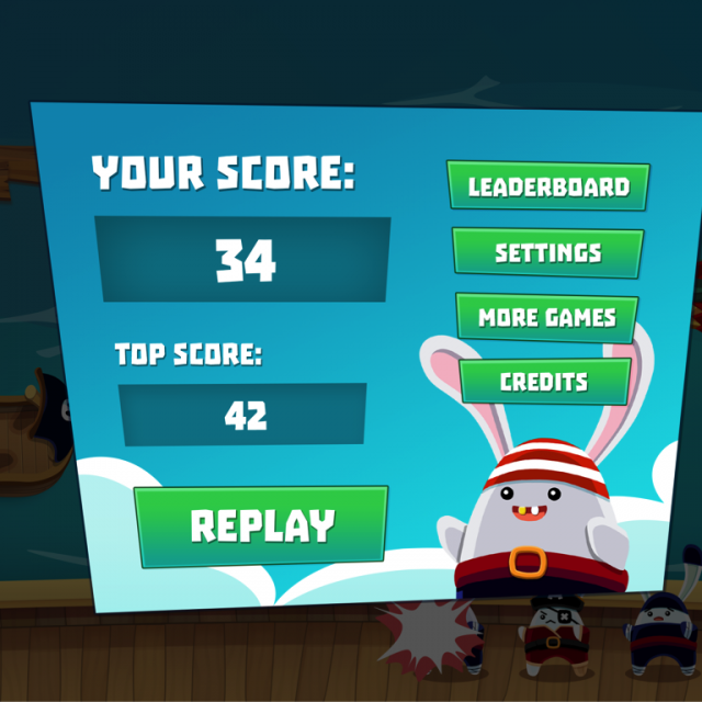 Scuttled score screen with your score in the top left, the top score below, a replay button below that and thend to the top right is buttons for leaderboard, settings, more games and credits