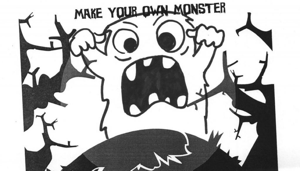 Make your own monster print out sheet that has been filled in with a scruffy but cute little monster in the center