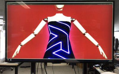 Virtual Mannequin project displayed on a 65 inch tv while zoomed in on the dress