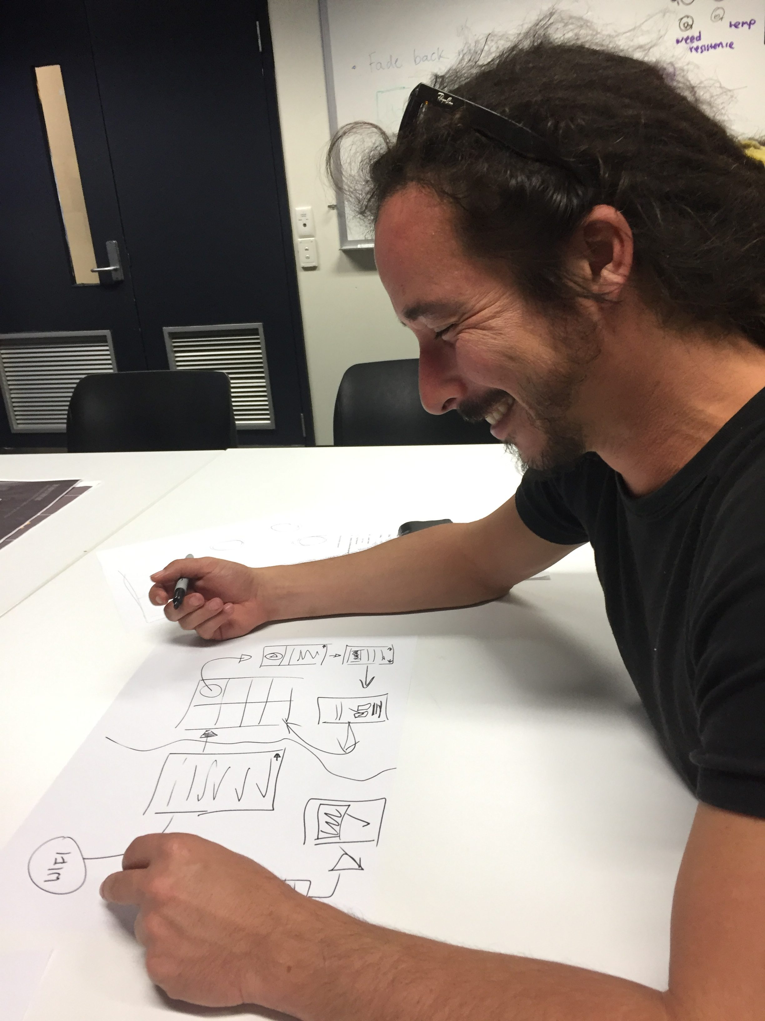 Bryce working on wireframes for Marvel Mobile