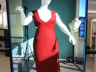 Virtual Fashion Studio final tests displaying a working version with UI and a mannequin with a red dress