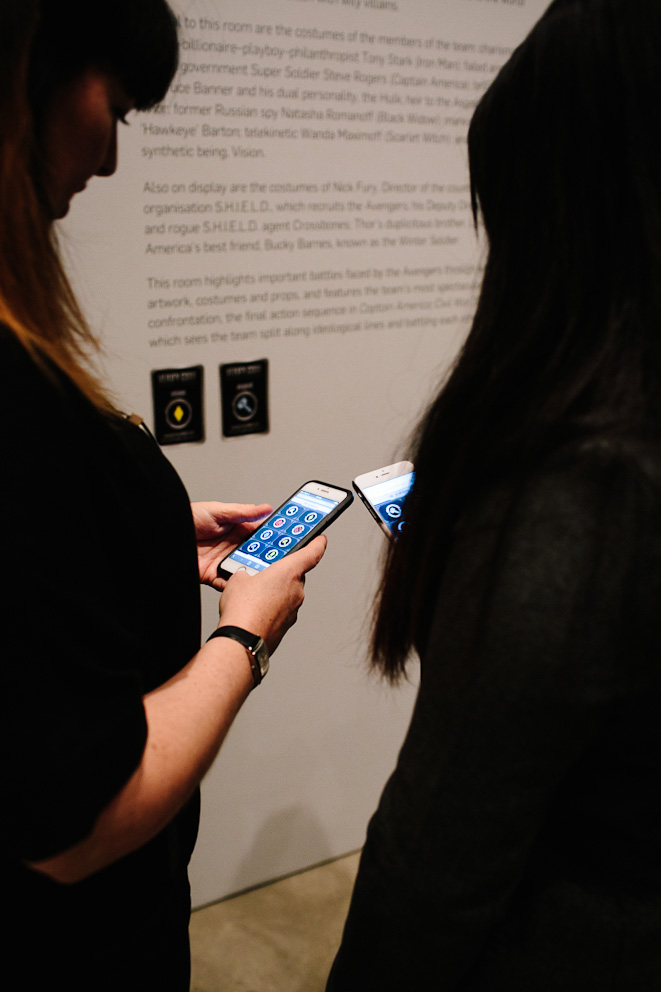 Deb and Sarah testing the Marvel Mobile App at GOMA 2017