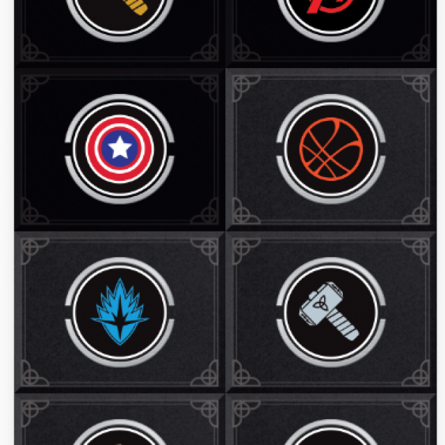 Screenshot of Marvel Mobile app showing the 8 different markers to find at GOMA