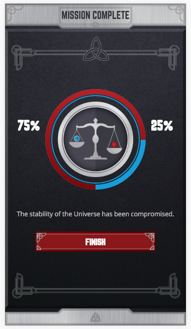 Marvel Mobile screenshot showing the perentage of people who chose to stabalise the universe at 25%