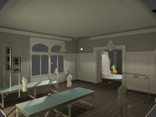 Virtual Fashion Studio program showing the room layout with 2 large tables, mannequins around the room and a clothes rack