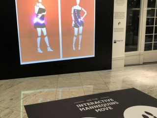 Virtual Mannequin fully installed at Wintergarden with signage to let the public understand how to interact with them